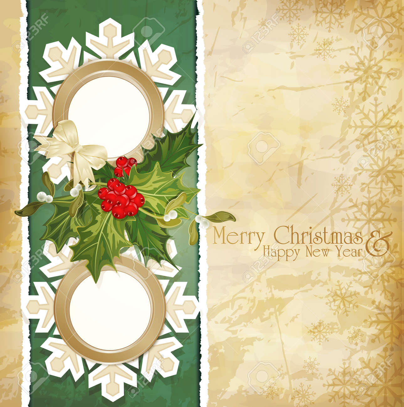 vector vintage retro christmas background with sprig of European holly, torn paper and two frames Stock Vector - 11282723