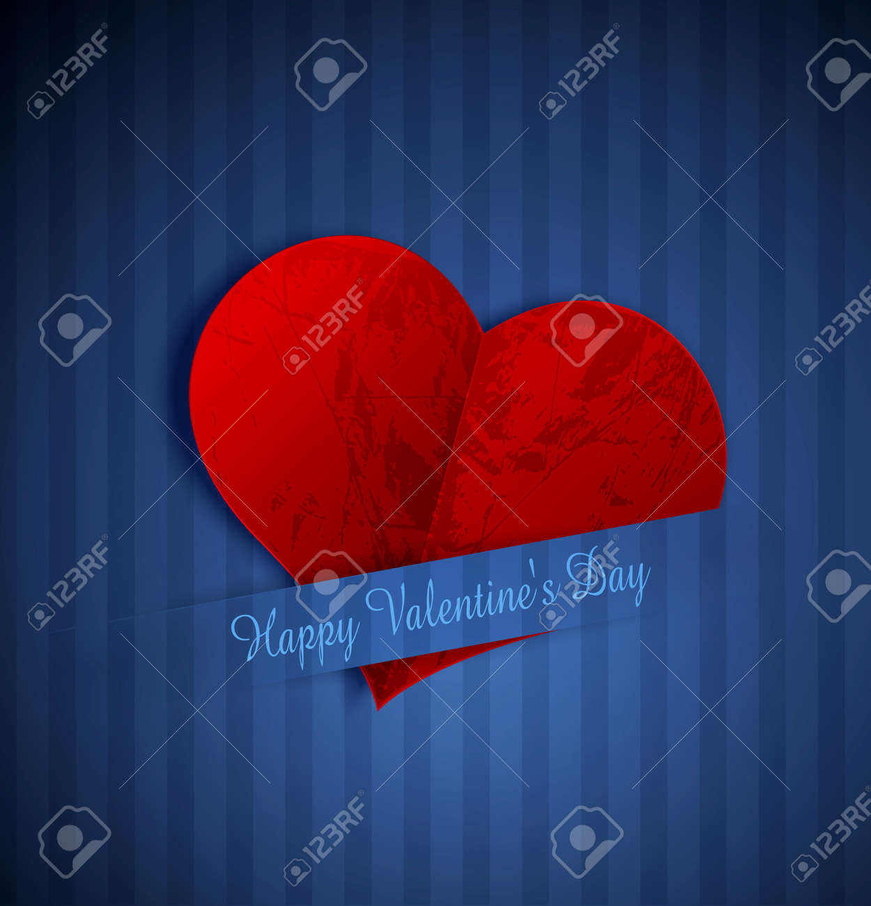 heart from paper Valentines day, on a blue striped background Stock Vector - 12003673