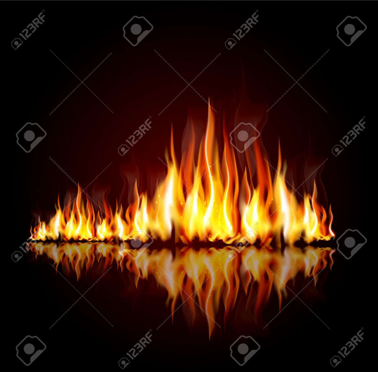 background with a burning flame Stock Vector - 12083032