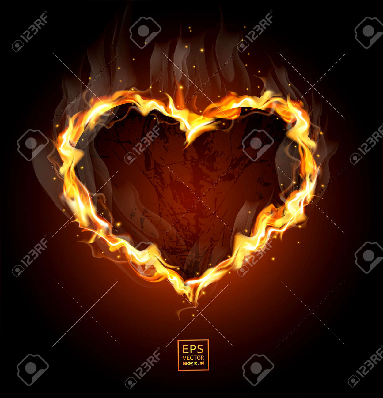 fiery heart on a black background Stock Vector - 12083034