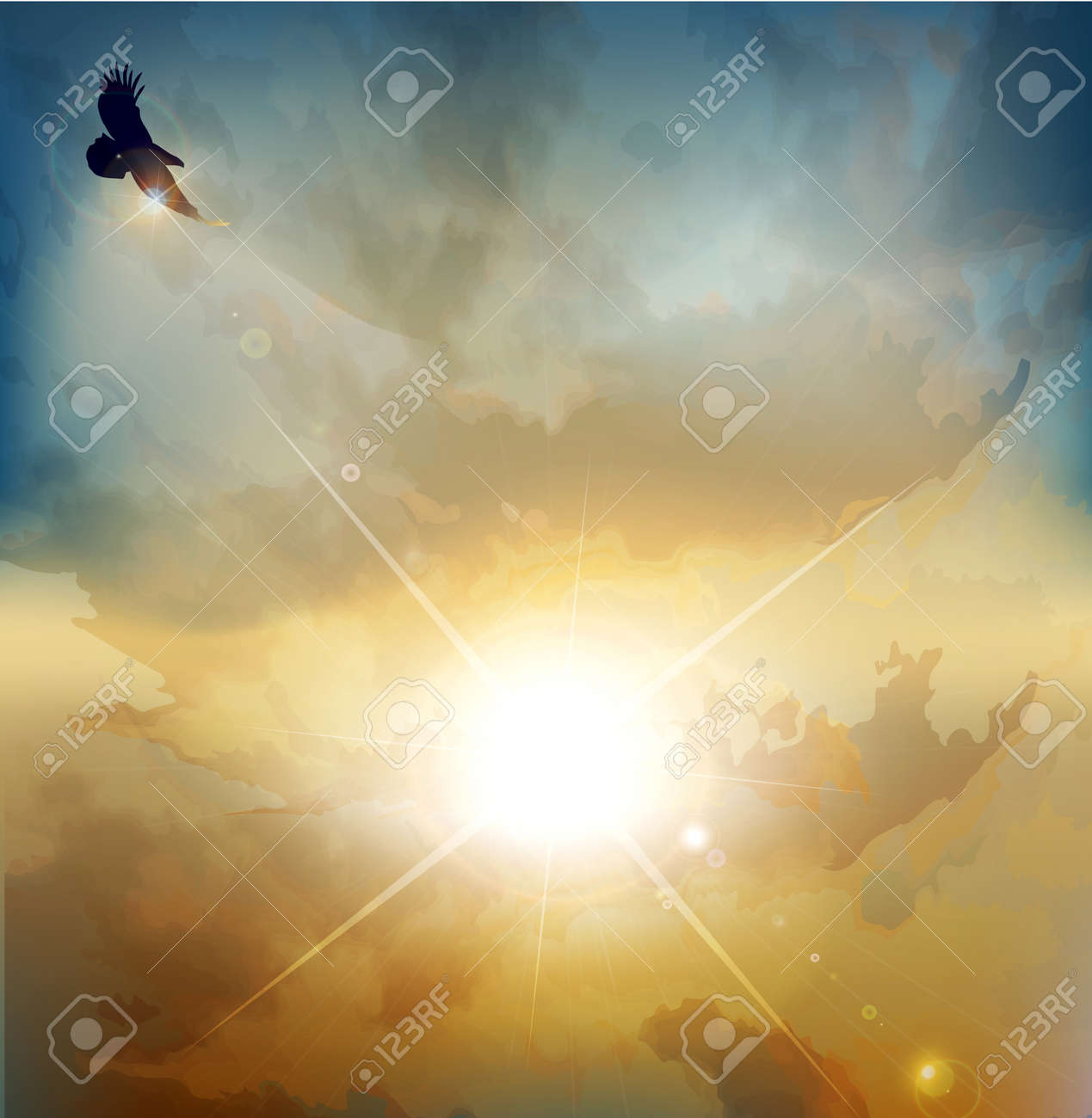 vector background with high-soaring eagle on a background of rising sun - 12488303