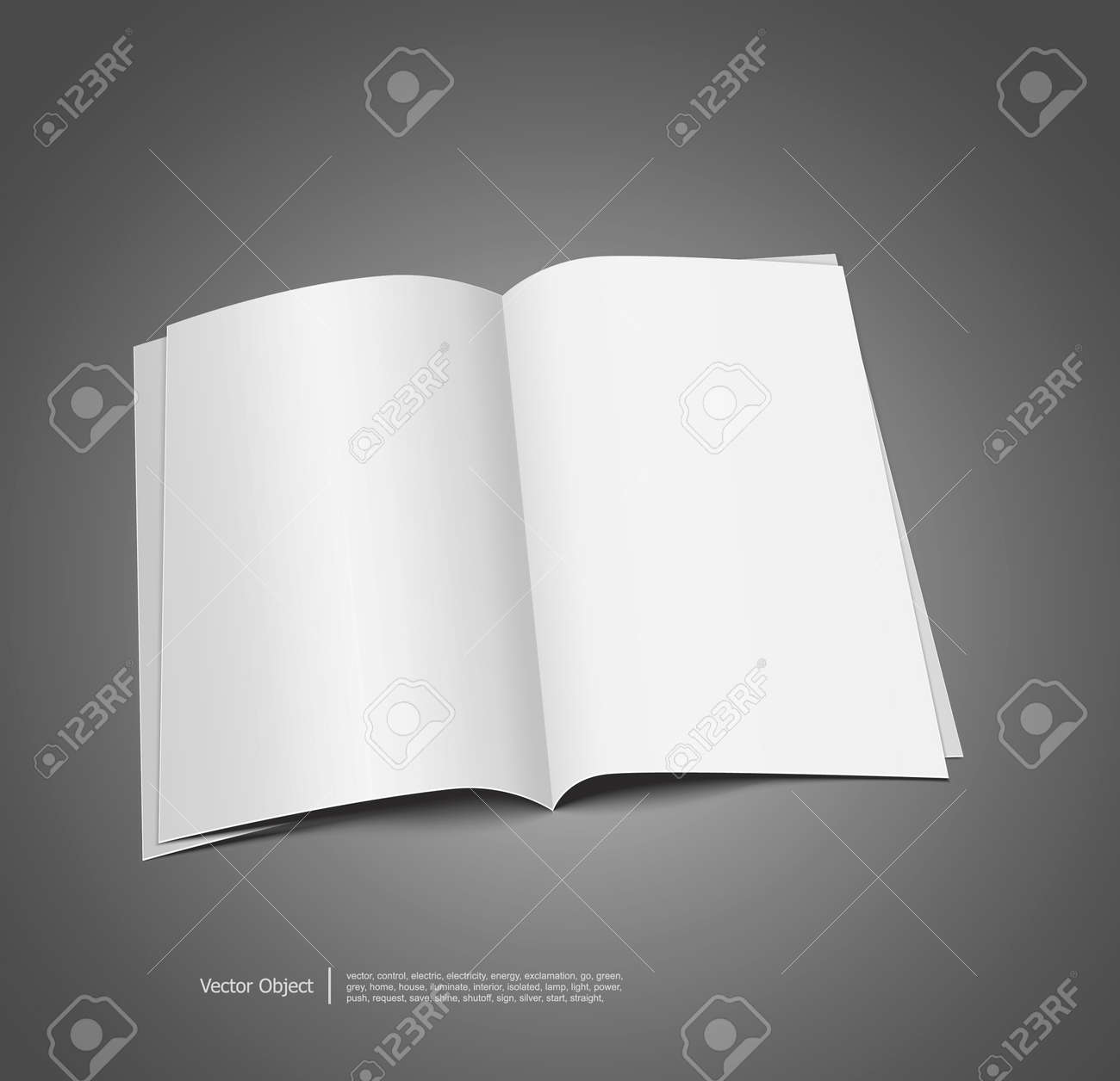 Magazine Blank Page Template For Design On Gray Background Royalty