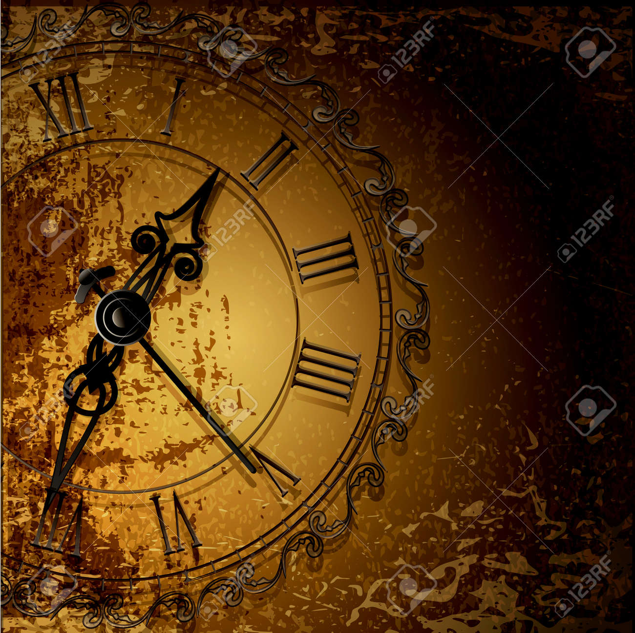 Vector grunge abstract background with antique clocks Stock Vector - 12488342