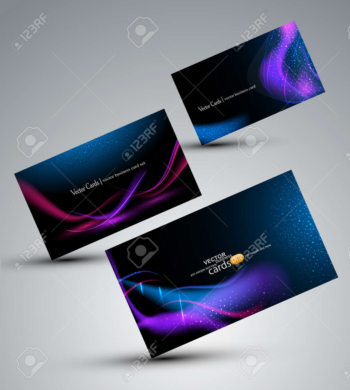 Futuristic vector set of cards - 12488473