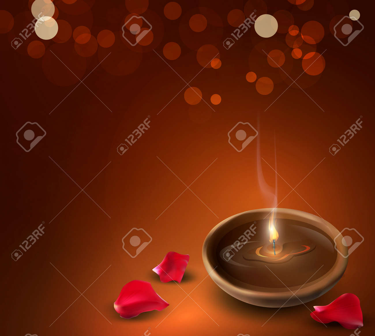 background with a romantic burning candles and rose petals Stock Vector - 12866890