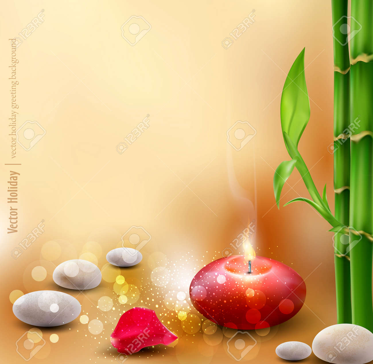 romantic background with bamboo and lit candles Stock Vector - 12866888