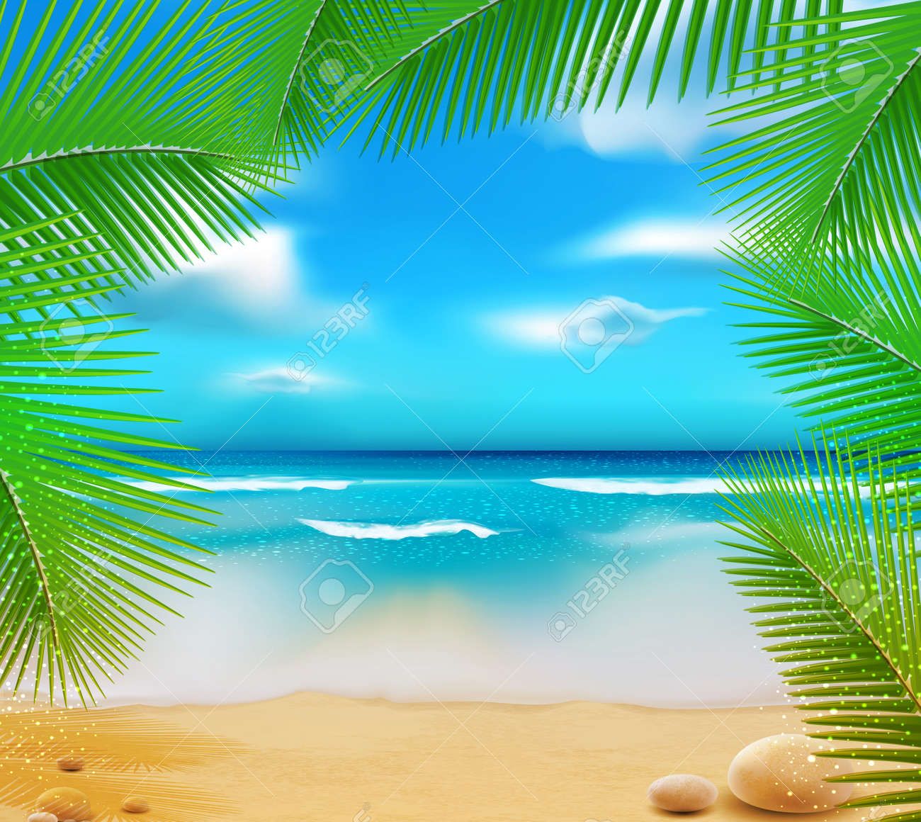 landscape with a sky-blue ocean, golden sands and palm trees - 12866897