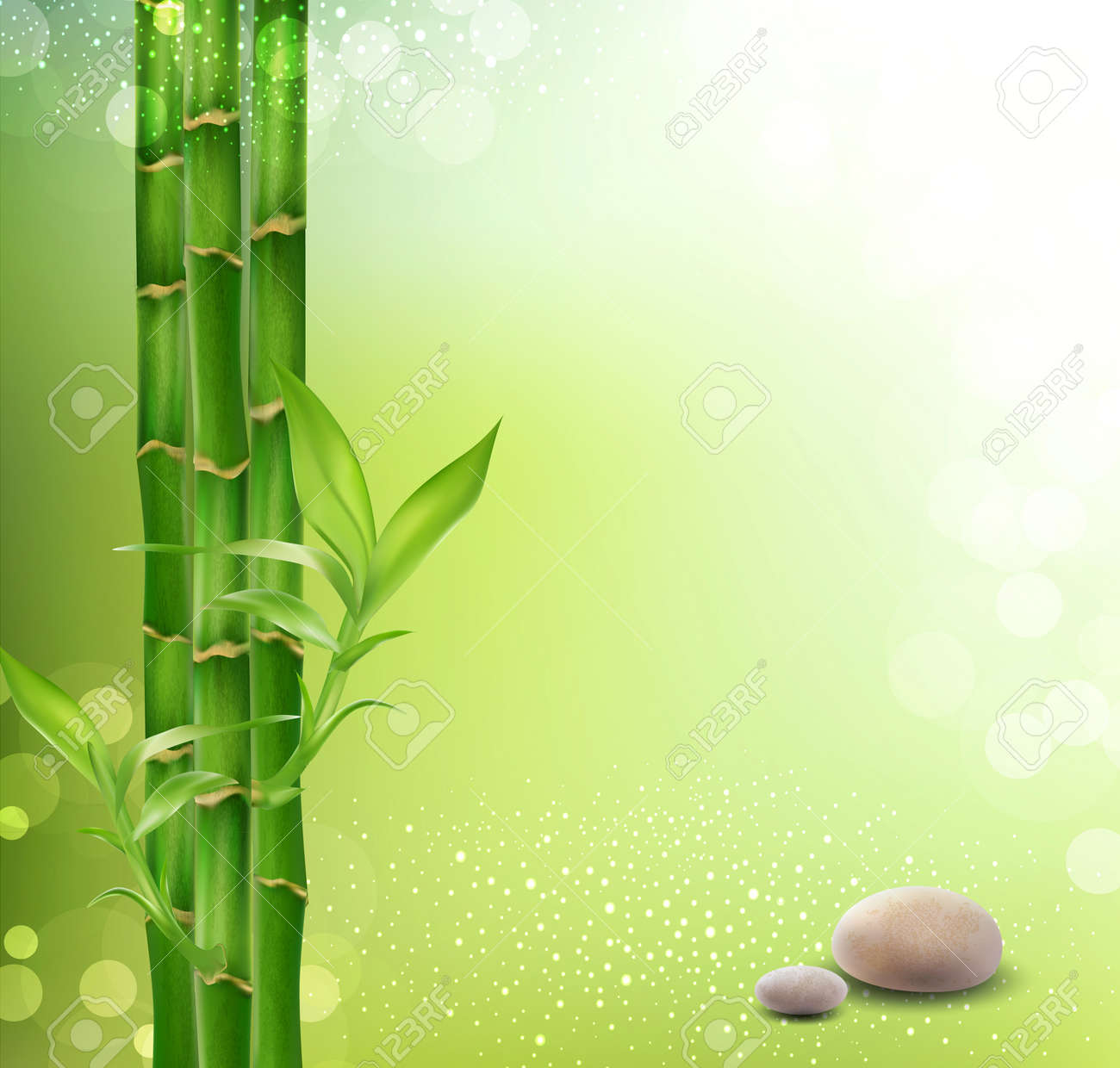 meditative, oriental background with bamboo and stones Stock Vector - 12866886