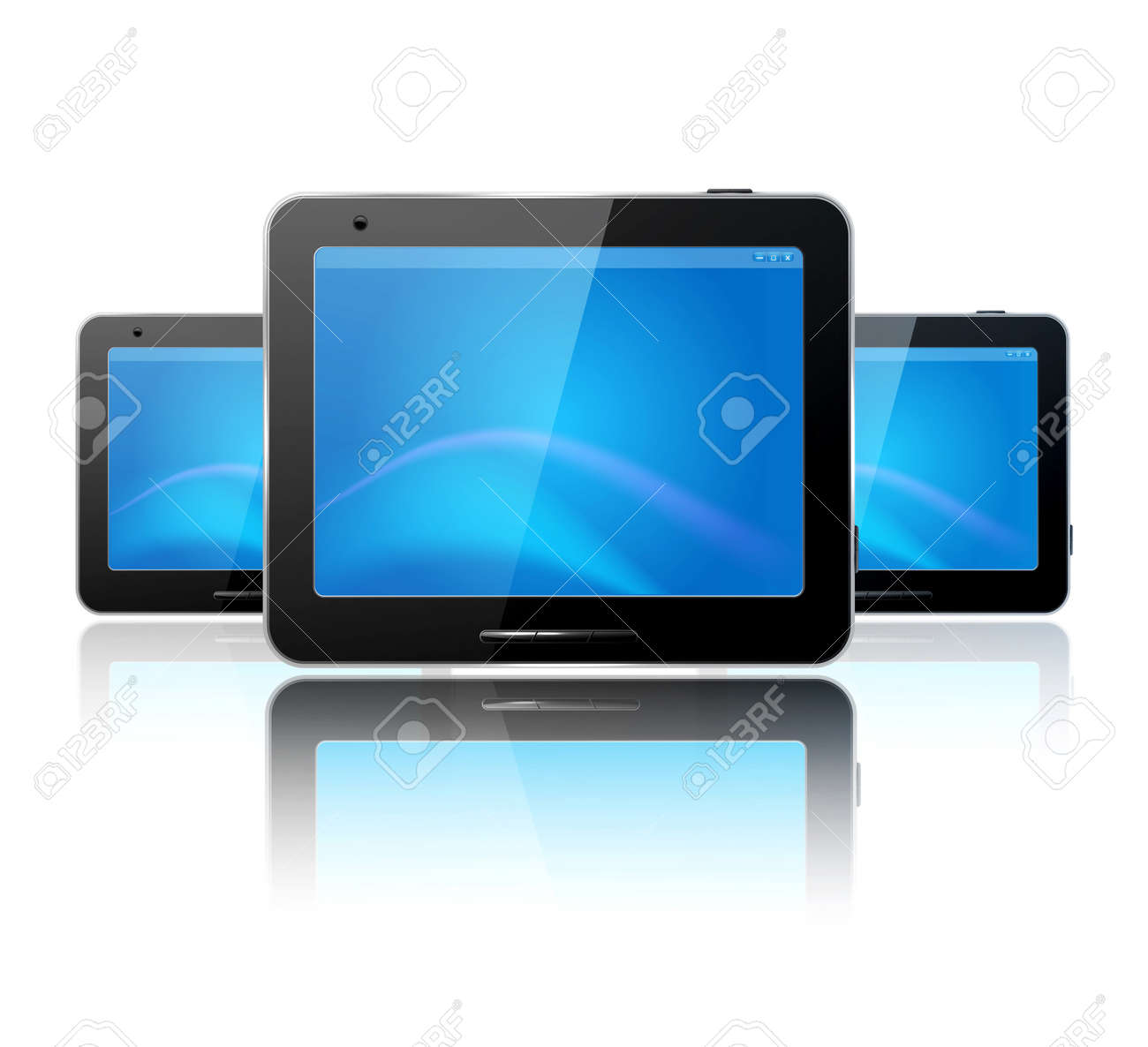 with three computer tablet on the white background and reflection Stock Vector - 12866879