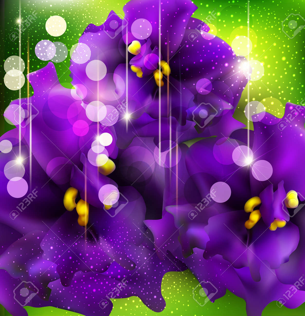 vector background with romantic violets on a green background Stock Vector - 13109667