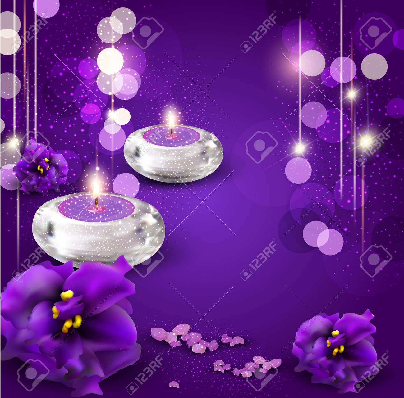 vector background with romantic candles and violets on purple background Stock Vector - 13109663
