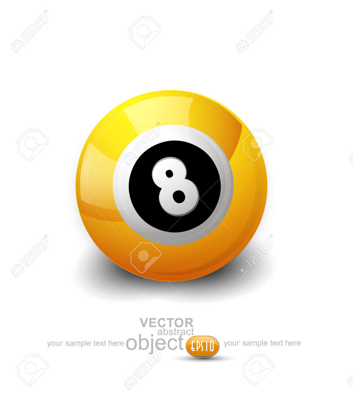 yellow ball with the number 8 on a white background Stock Vector - 16804961