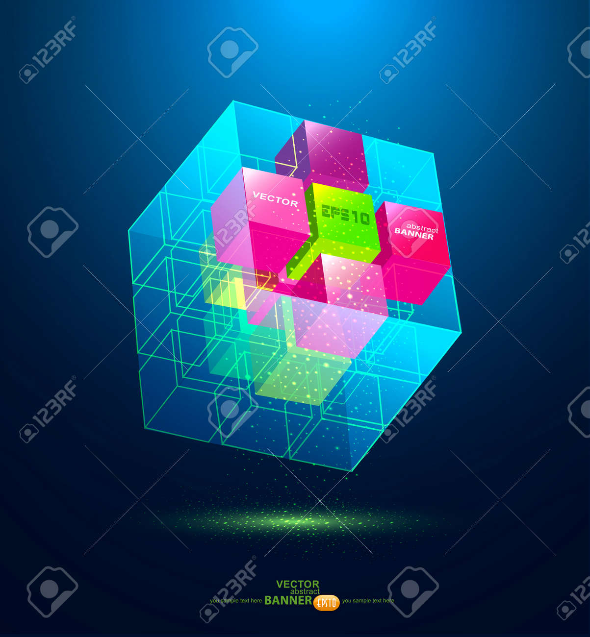 vector abstract blue cube Stock Vector - 17336747