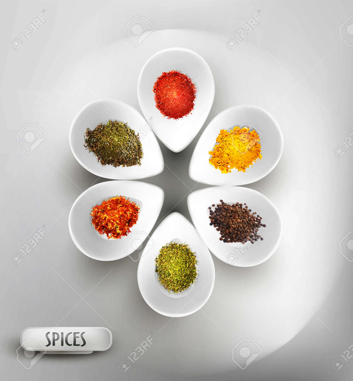 vector background with white bowl on the table, the filling of spices Stock Vector - 18083218