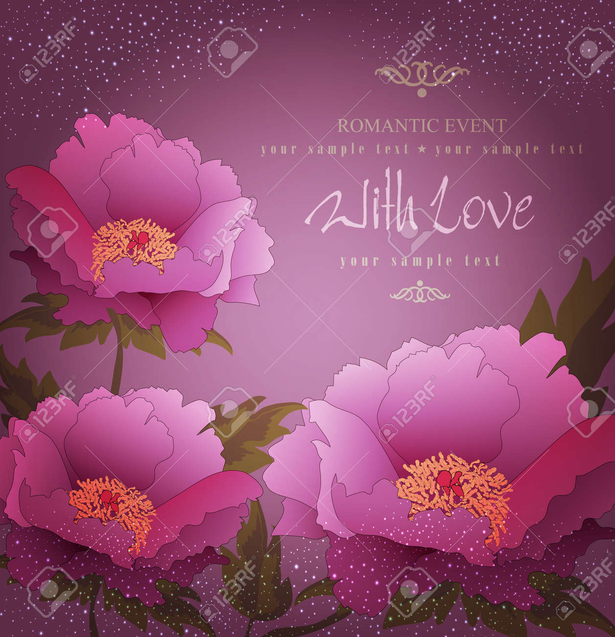 vector holiday background with peony flowers Stock Vector - 20276616
