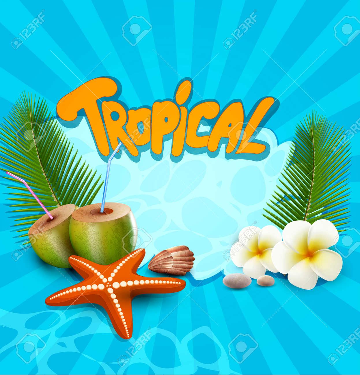 tropical banner with seashells, starfish Stock Vector - 20747700