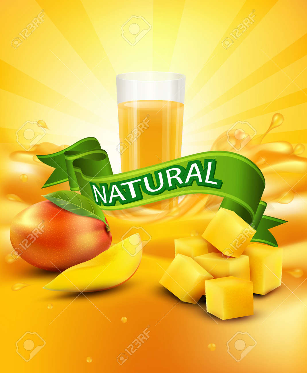 Vector Vector Background With Mango, A Glass Of Juice, Slices Of Mango,  Green How To Cut