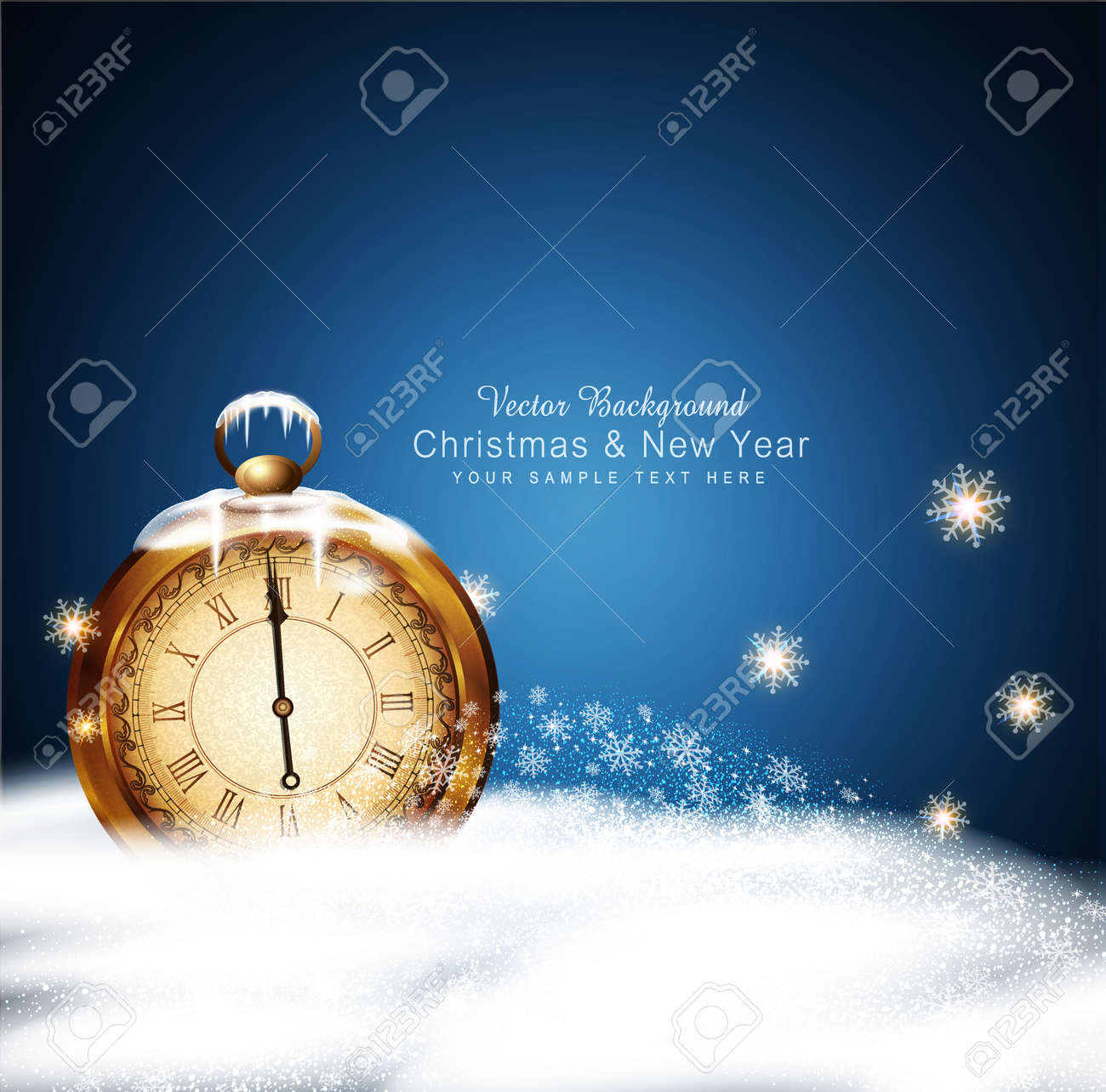 vector Christmas background with old clocks, snow, snowflakes and snow drifts - 48545112