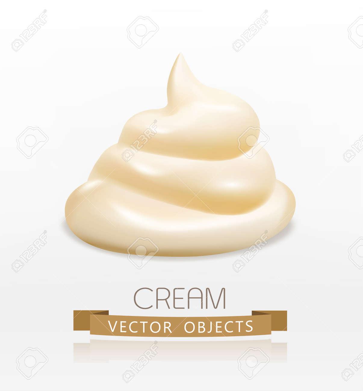 handful cream (mayonnaise) swirl, isolated on white background - 53646644