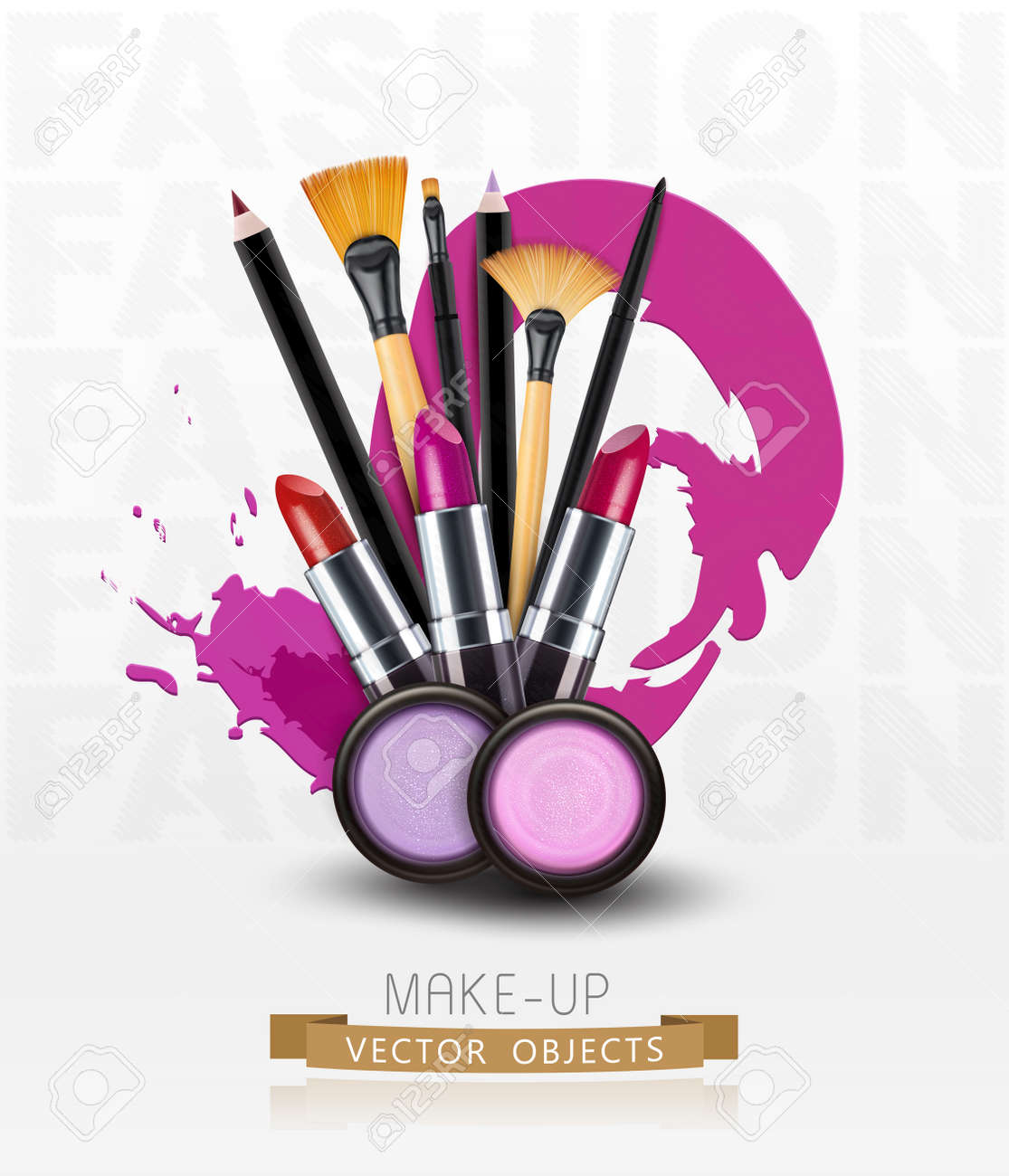 Vector Background With Cosmetics And Make Up Objects Flyer