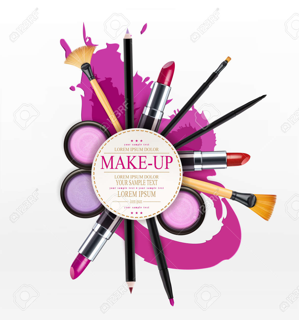Vector background with cosmetics and make up objects and place vector vector background with cosmetics and make up objects and place for text flyer template saigontimesfo