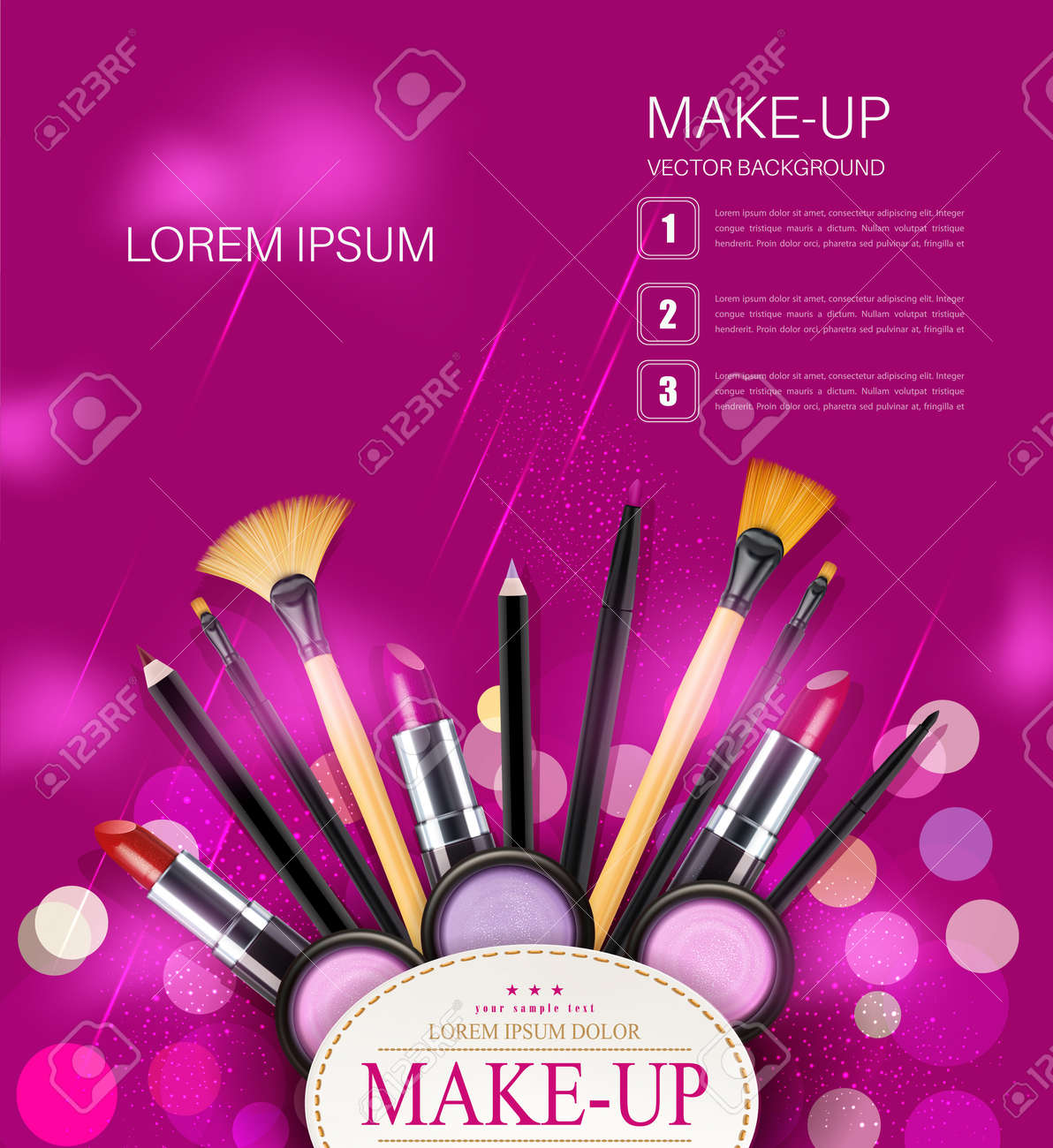Vector background with cosmetics and make up objects and place vector vector background with cosmetics and make up objects and place for text pink flyer template saigontimesfo