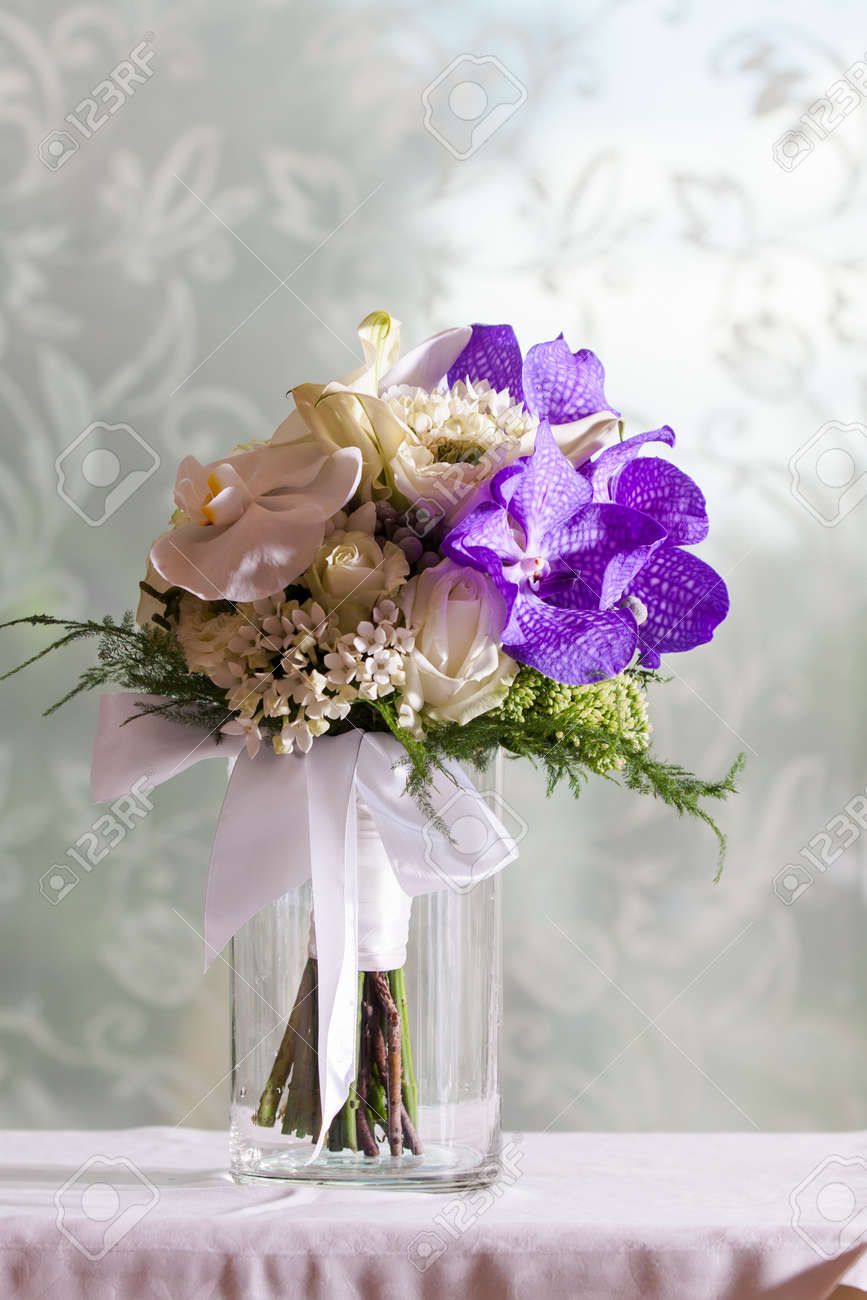 Wedding Bouquet Made From White And Purple Orchid Stock Photo ...