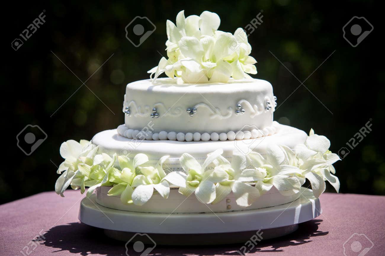 Frontansicht Des Grossen Weissen Hochzeitstorte Mit Weissen Orchideen