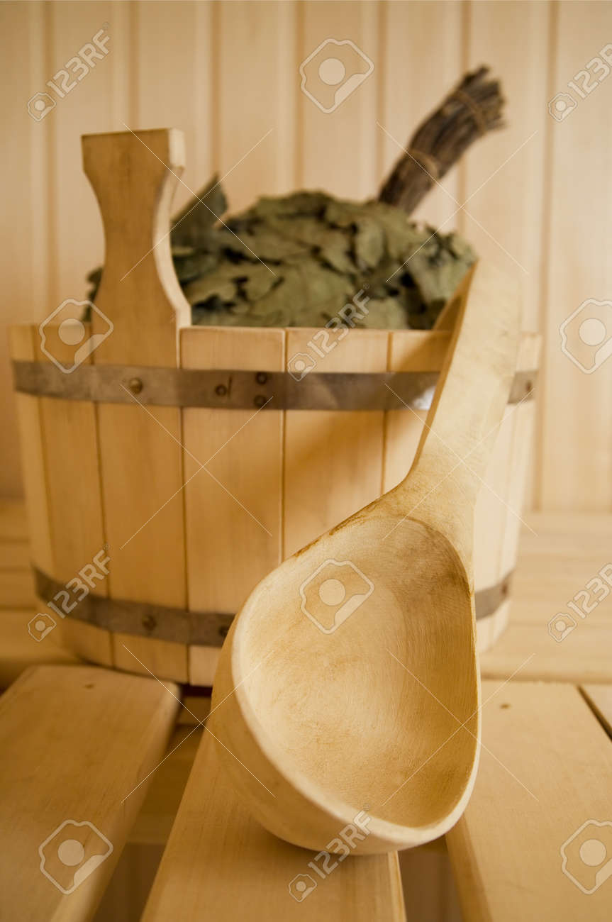 Wooden wash-tub with scoop in steam bath-room Stock Photo - 1629698