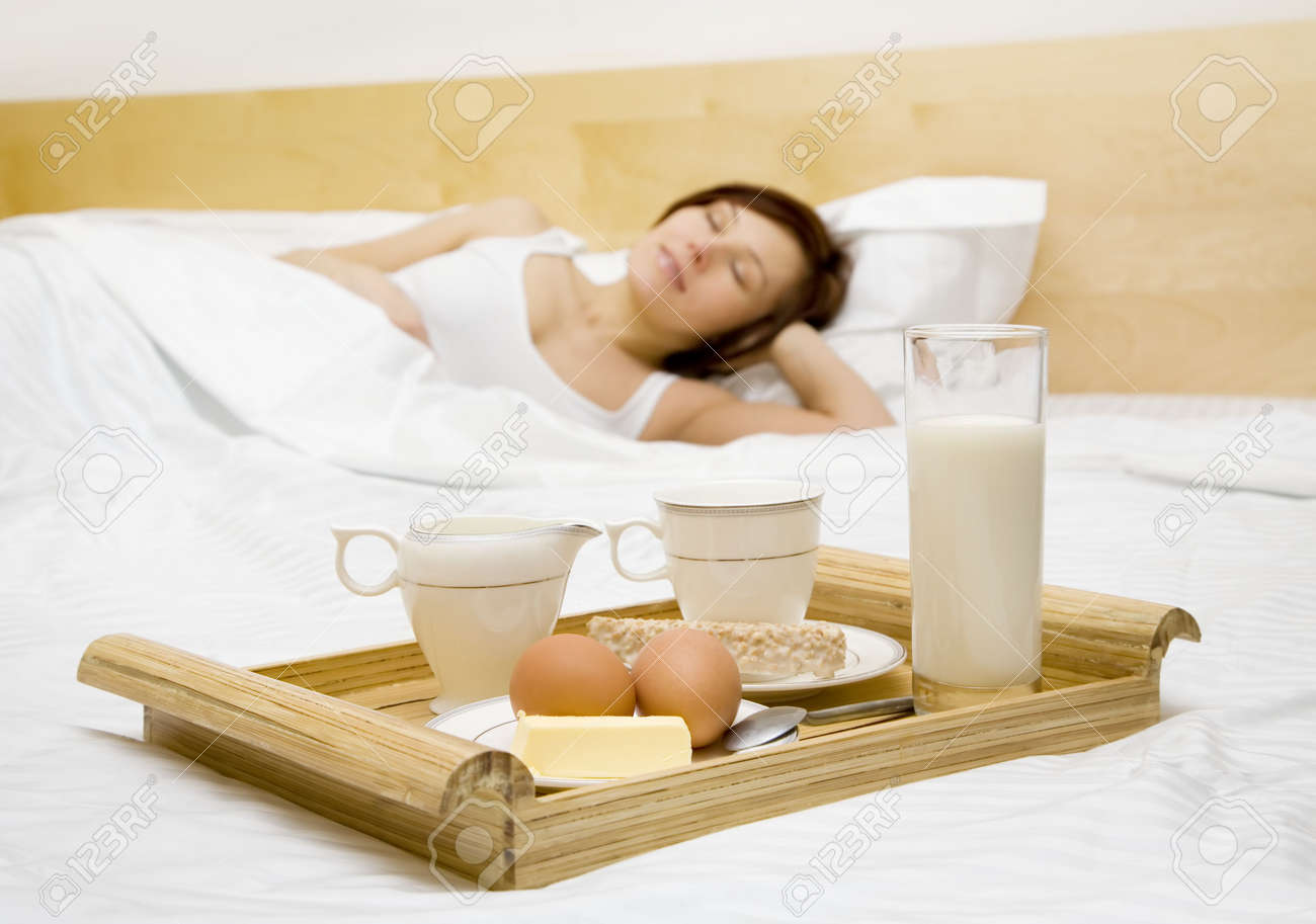 Morning breakfast in the bed Stock Photo - 4153895