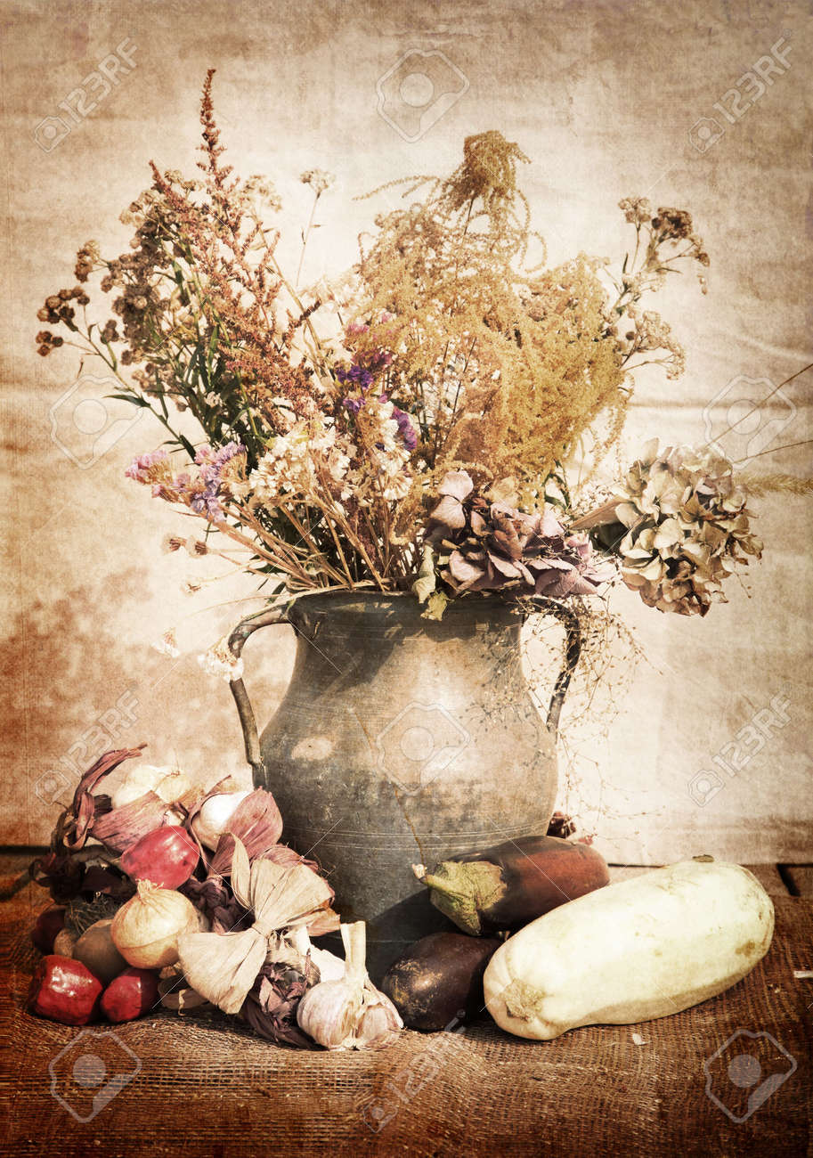 still life of a flowers in a vase with vegetables Stock Photo - 7641527