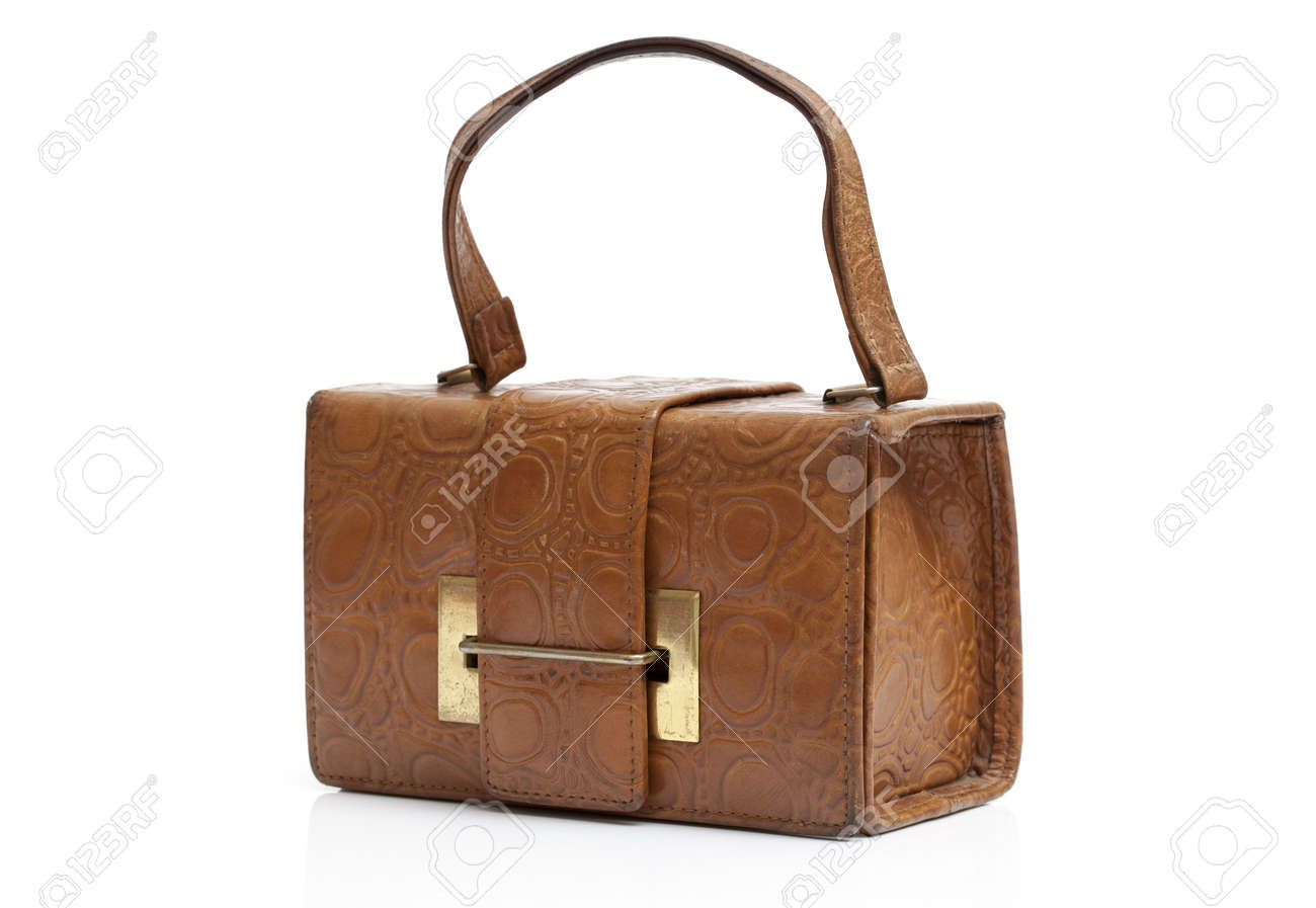 Vintage woman's leather bag on white background Stock Photo - 11941228