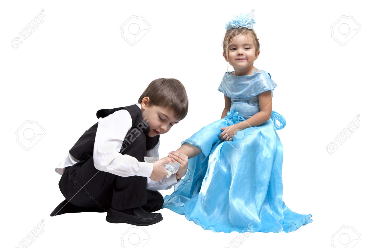 large discount promo code on feet shots of Little boy fitting a glass slipper onto a little girl