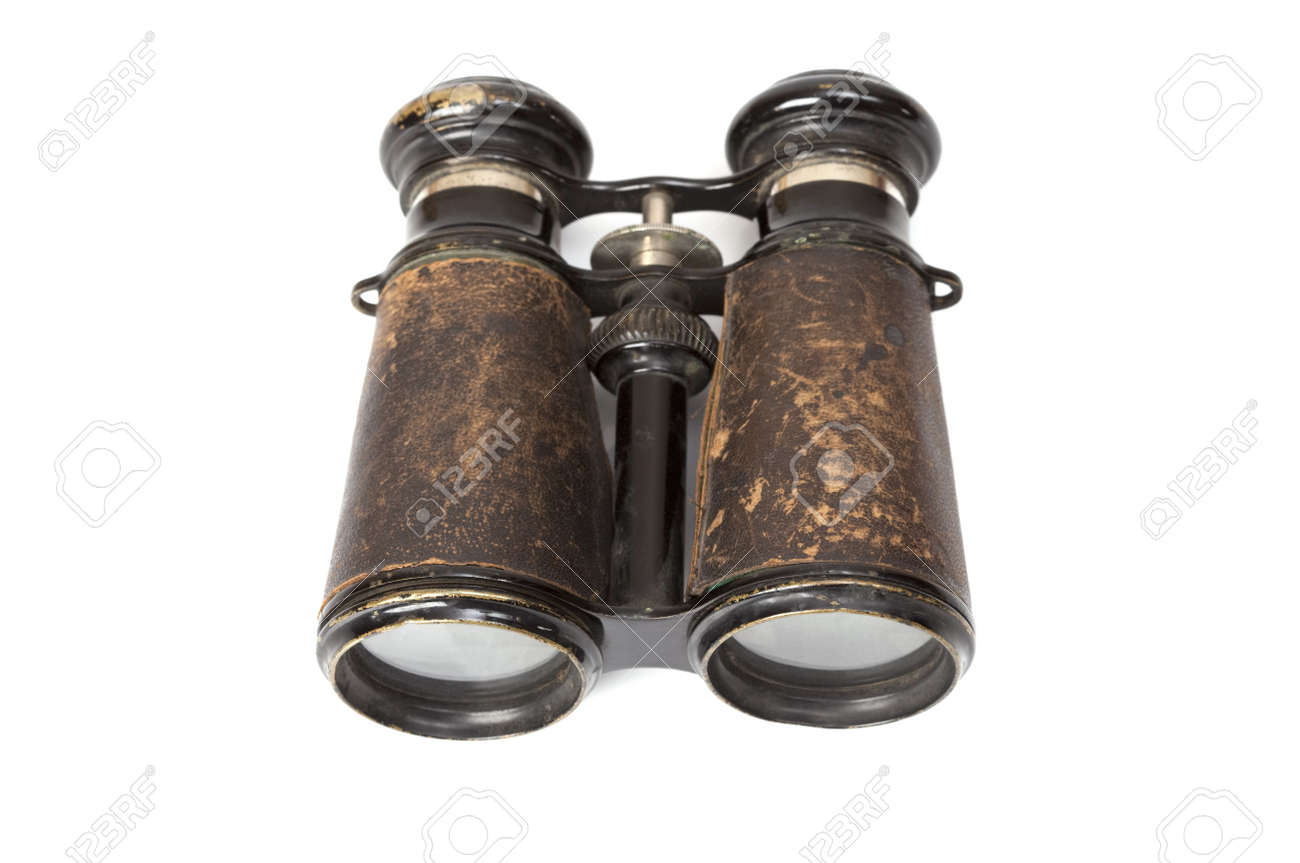 Rusted, antique binoculars on a white background Stock Photo - 14217281