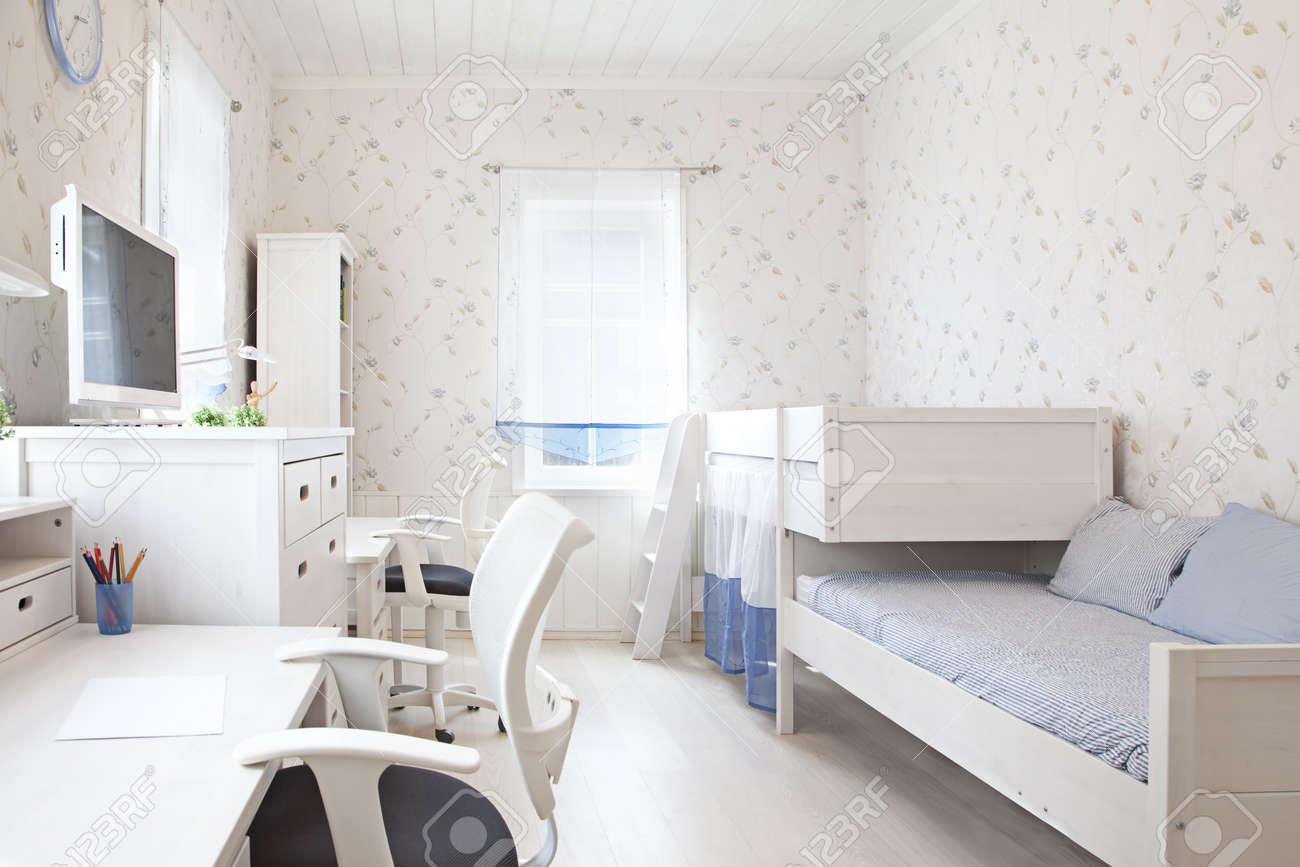 Modern interior of kid's bedroom in sunlight - 19629551