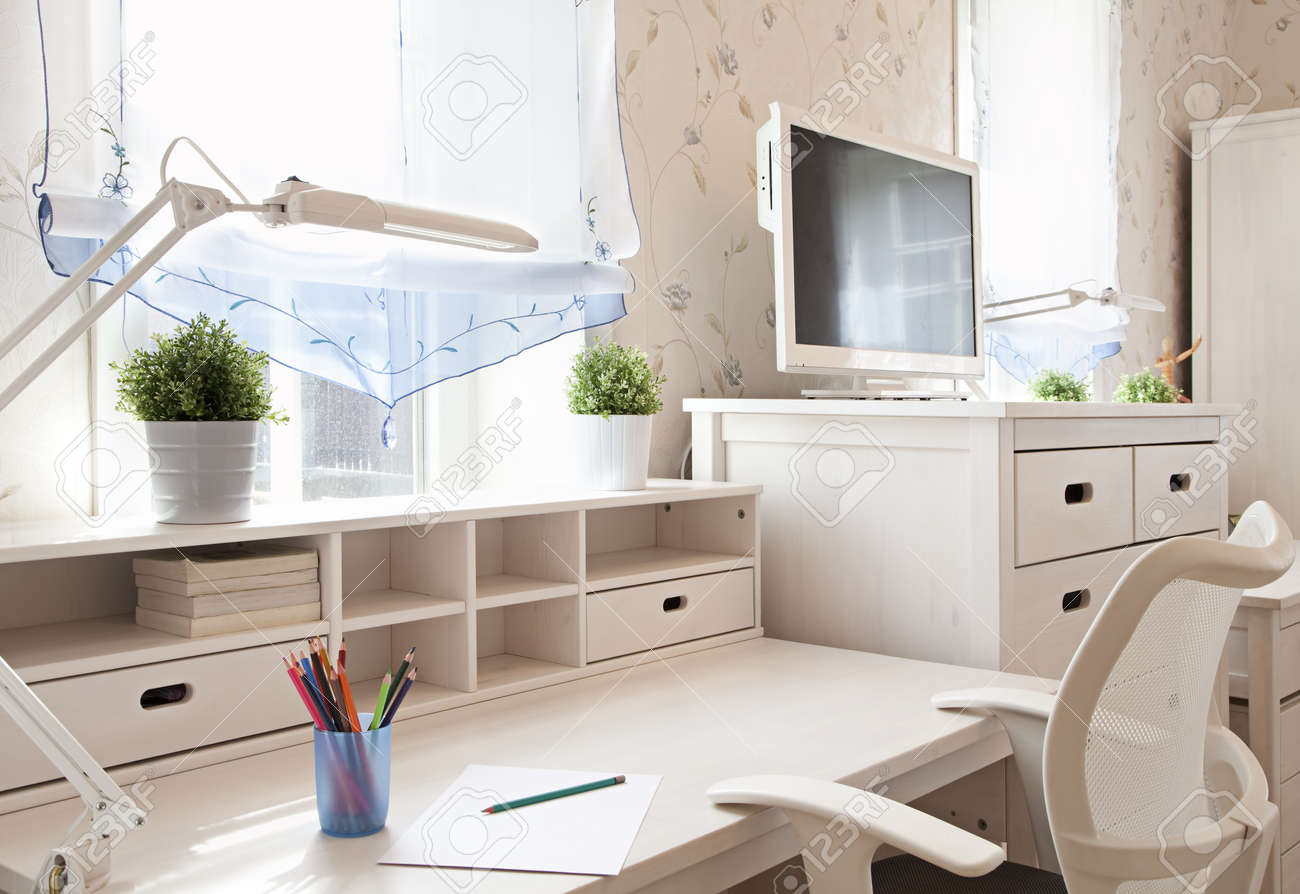 Modern interior of schoolroom in sunlight closeup - 19629552