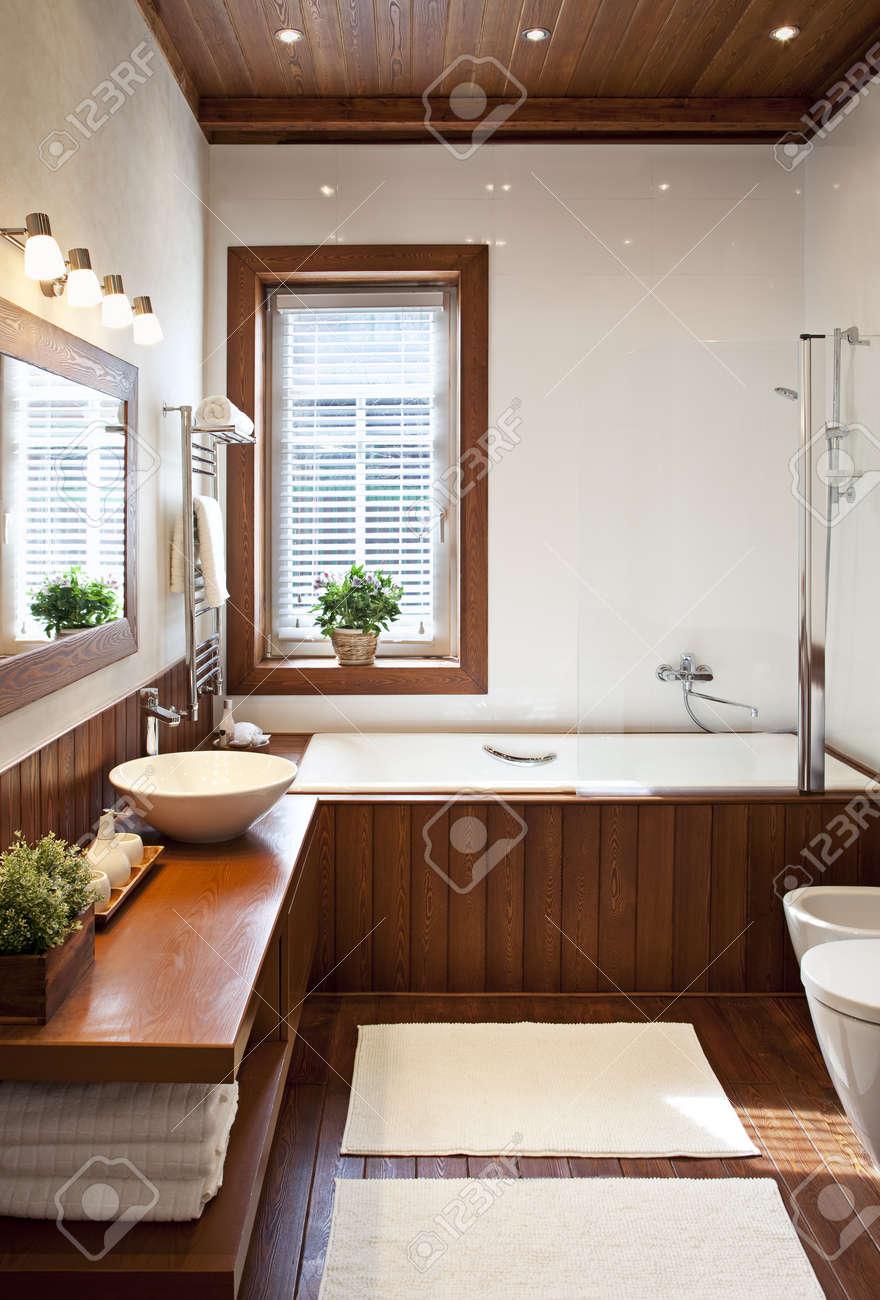 Contemporary residential home bathroom interior in sunlight - 19629548