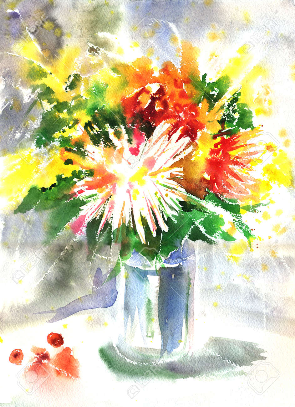 Watercolor Drawing Of A Bouquet With Chrysanthemum. Artistic ...