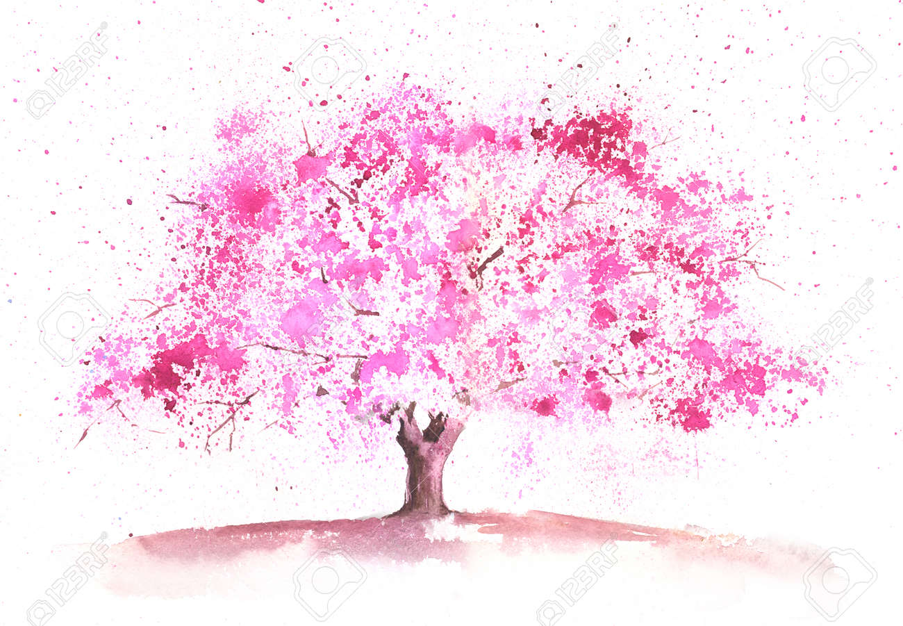 Saison Aquarell Baum In Einem Fruhlingsthema Gemalt Lizenzfreie