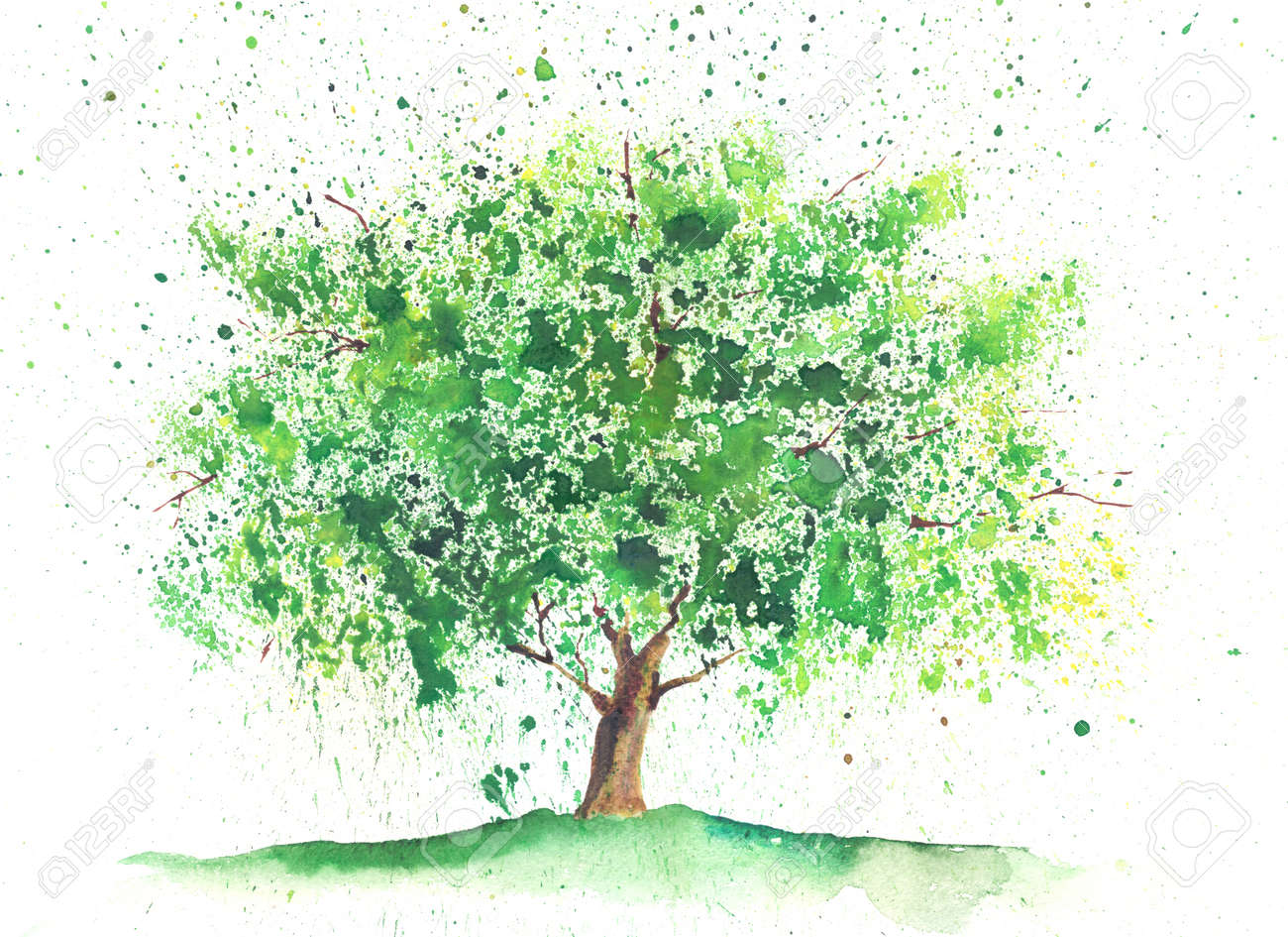 Seasonal Watercolor Tree Painted In A Summer Theme Stock Photo ...