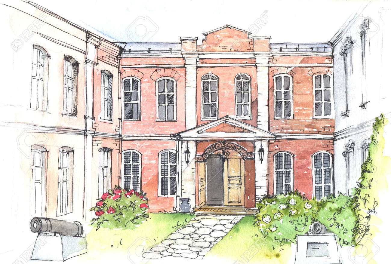 Watercolor And Pen Drawing Of An Old Mansion In The Style Stock