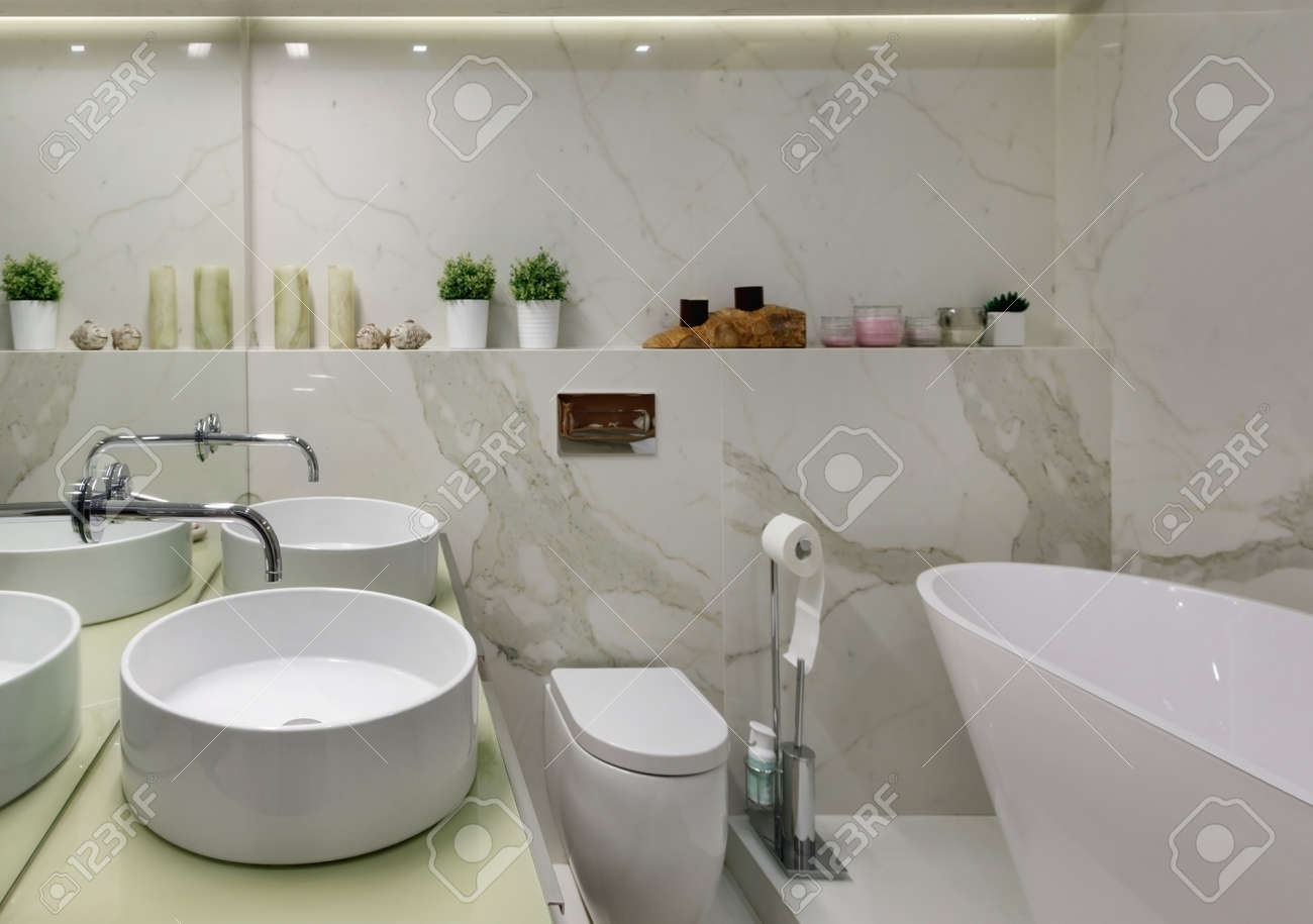 The Interior Of The Bathroom In Bright Colors In A Modern Residential Stock Photo Picture And Royalty Free Image Image 134554576