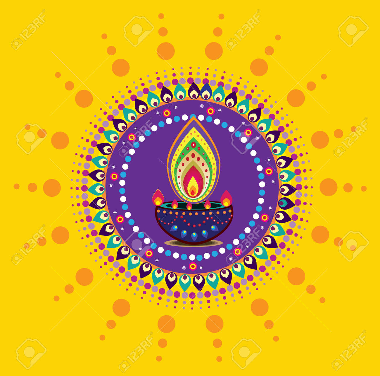 Diwali Candle Light, Indian New Year Element Stock Vector   32372902
