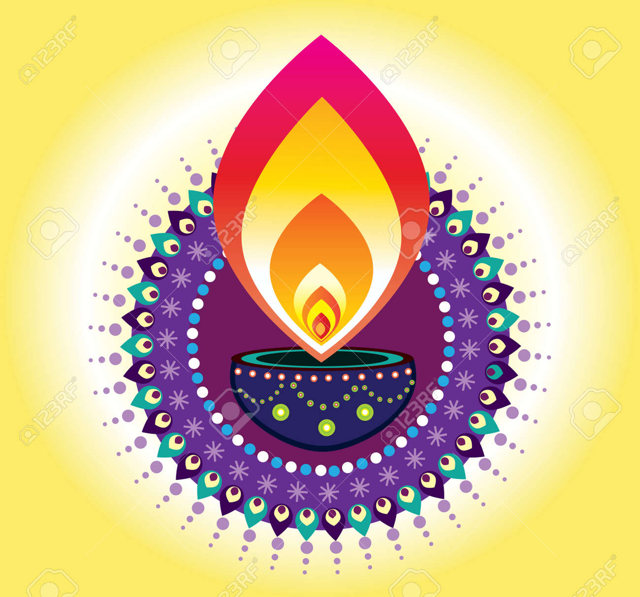 Diwali Candle Light, Indian New Year Element Stock Vector   32372906