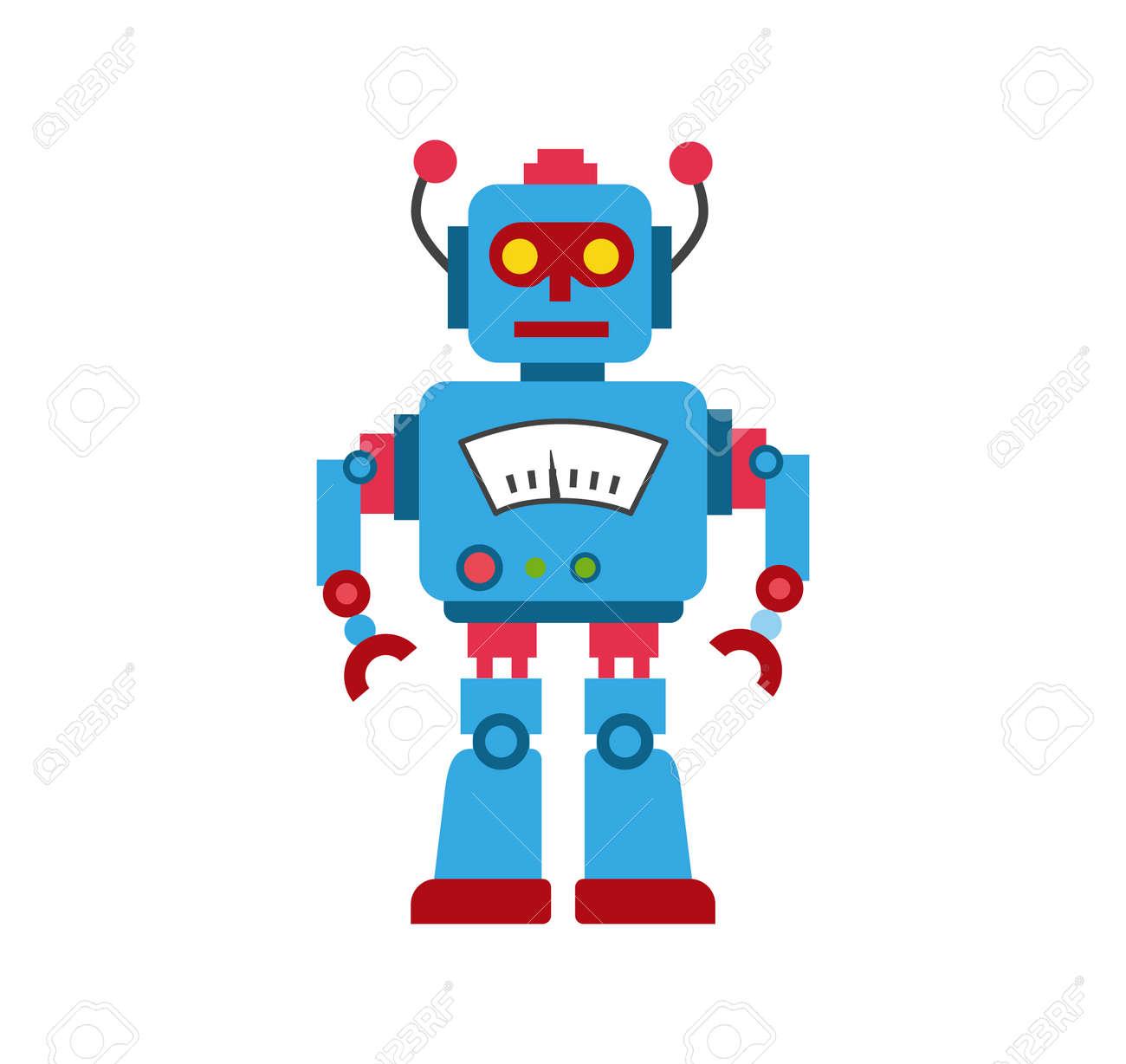 青色のおもちゃロボット イラストのイラスト素材ベクタ Image