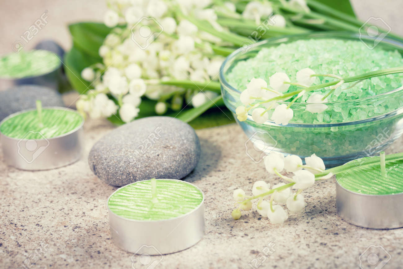 Accessories For Spa. Lily Of The Valley Flowers, Bath Salt And ...