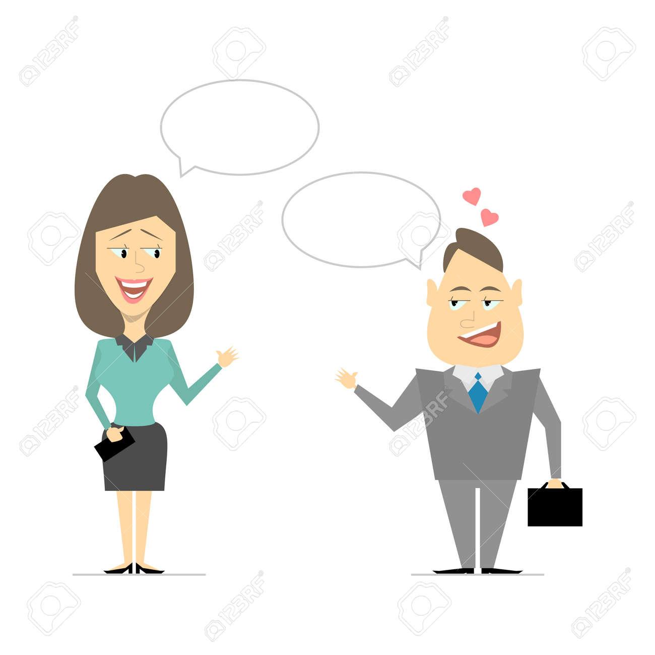 Apropos Männer Und Frauen Business Treffen Flirten Cartoon Vektor