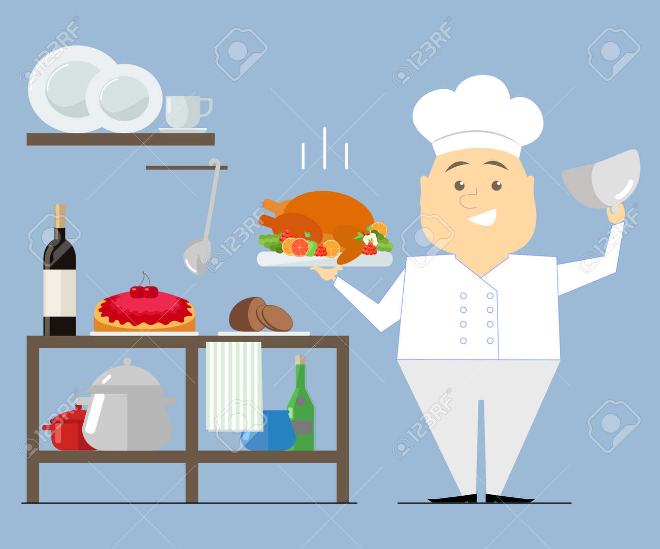 Chef Is In The Kitchen, Holding A Hot Dish. Turkey Roast. Vector ...