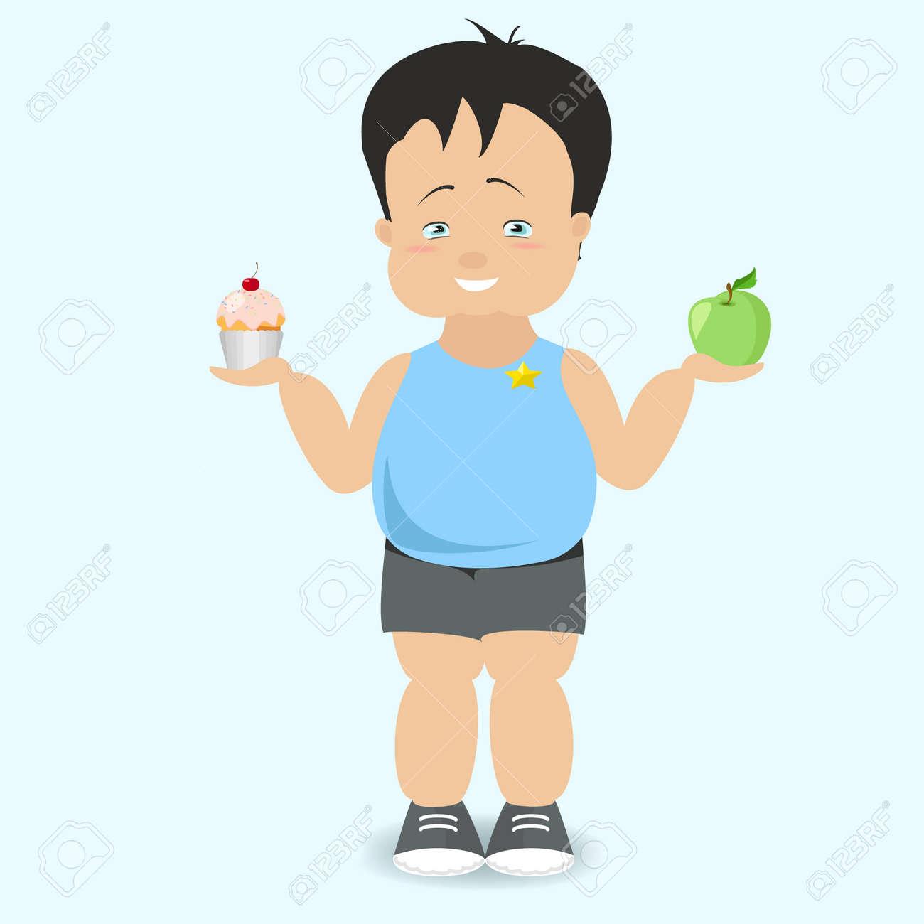 The boy chooses a healthy lifestyle. The fat kid. Vector cartoon - 67379891