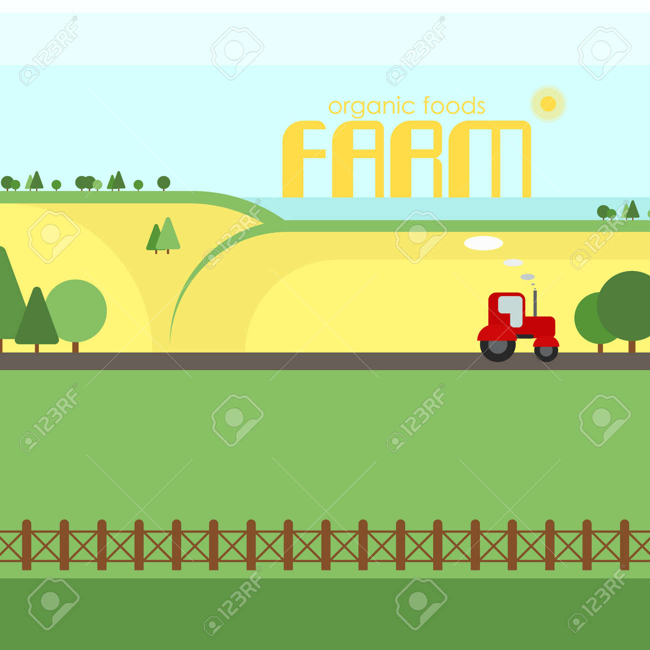 Agriculture Farm Organic Foods Rural Landscape Design Elements Royalty Free Cliparts Vectors And Stock Illustration Image 67388790